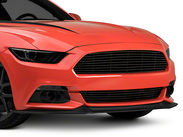 Modern Billet Retro Grille with 1-Piece Lower; Black (15-17 GT, EcoBoost, V6)