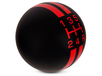 Modern Billet Rally Stripe 5-Speed Shift Knob - Black/Red (05-10 GT, V6)