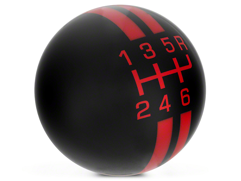 Modern Billet Rally Stripe 6-Speed Shift Knob; Black/Red (10-14 GT500)