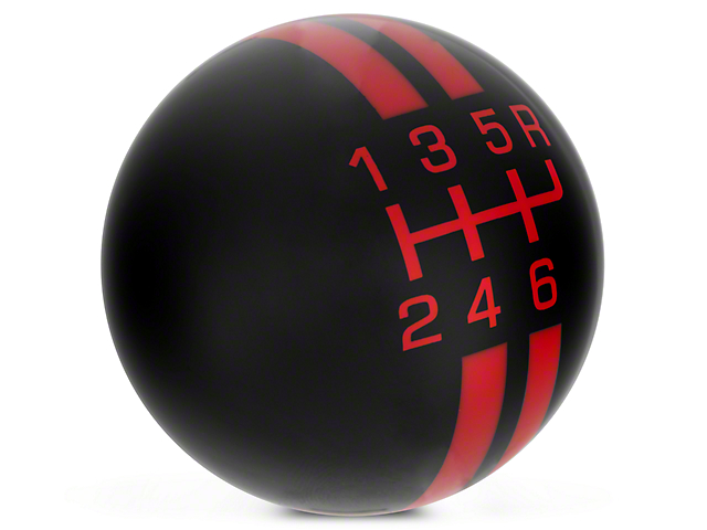 Modern Billet Rally Stripe 6-Speed Shift Knob; Black/Red (10-14 GT500)