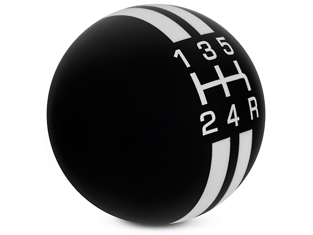 Modern Billet Rally Stripe 5-Speed Shift Knob; Black/White (05-10 GT, V6)