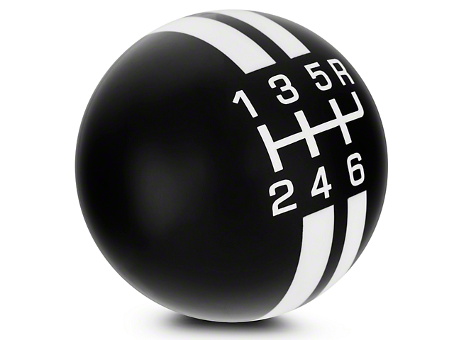 Modern Billet Rally Stripe 6-Speed Shift Knob; Black/White (07-09 GT500)