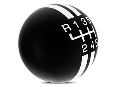 Rally Stripe 6-Speed Shift Knob - Black/White (15-18 GT, EcoBoost, V6)