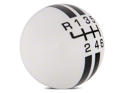 Rally Stripe 6-Speed Shift Knob - White/Black (15-18 GT, EcoBoost, V6)