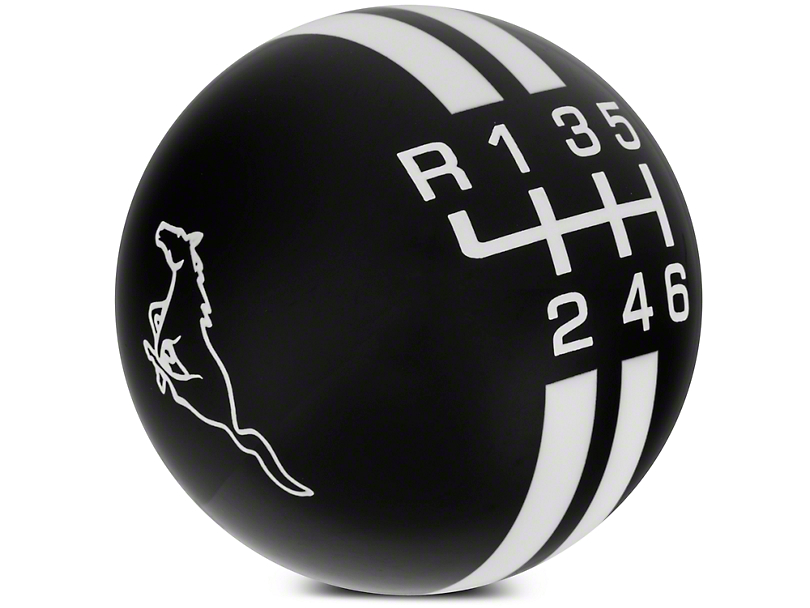 Rally Stripe 6-Speed Shift Knob w/ Running Pony Logo - Black/White (11-14 GT, V6)