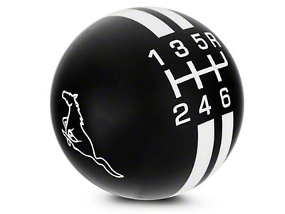 Rally Stripe 6-Speed Shift Knob w/ Running Pony Logo - Black/White (03-04 Cobra)