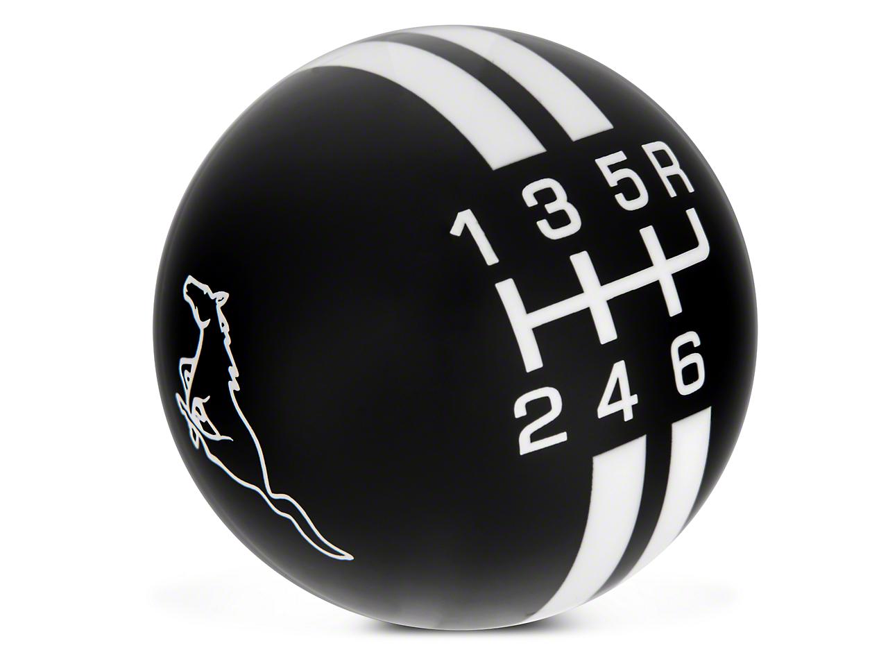 Rally Stripe 6-Speed Shift Knob w/ Running Pony Logo - Black/White (10-14 GT500)
