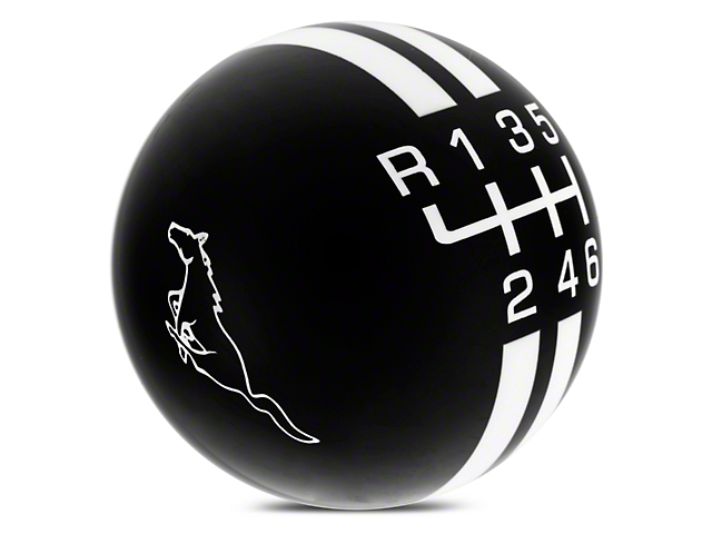 Rally Stripe 6-Speed Shift Knob w/ Running Pony Logo - Black/White (15-17 GT, EcoBoost, V6)