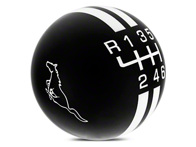 Rally Stripe 6-Speed Shift Knob w/ Running Pony Logo - Black/White (15-18 GT, EcoBoost, V6)