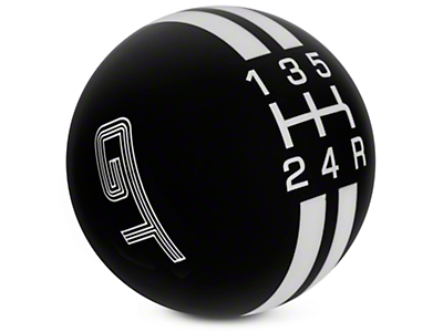 Modern Billet Rally Stripe 5-Speed Shift Knob w/ GT Logo - Black/White (05-10 GT, V6)