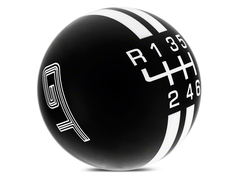 Modern Billet Rally Stripe 6-Speed Shift Knob w/ GT Logo - Black/White (15-19 All)