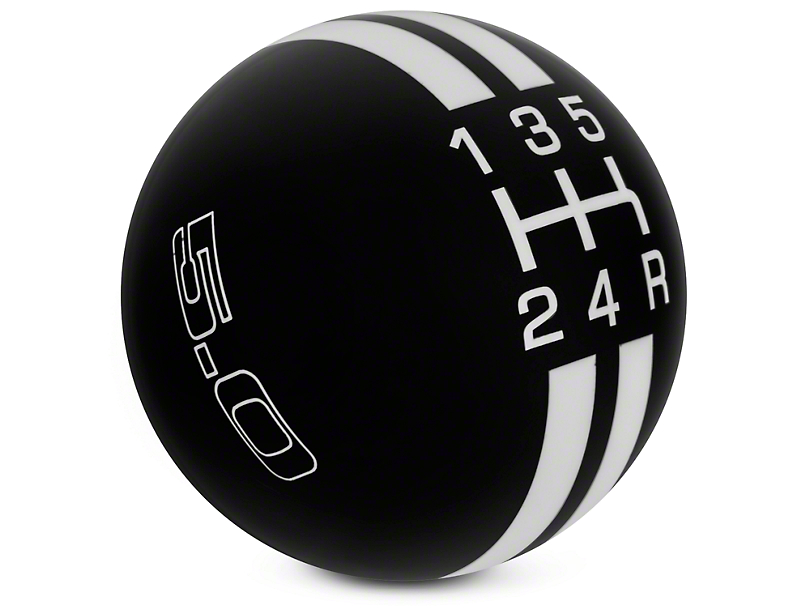 Rally Stripe 5-Speed Shift Knob w/ 5.0 Logo - Black/White (05-10 GT, V6)