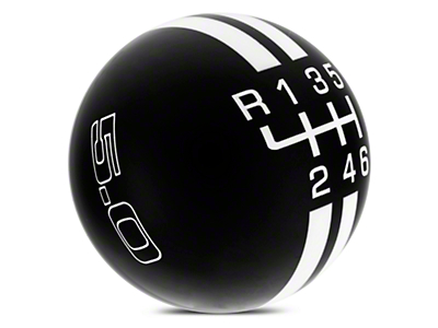 Rally Stripe 6-Speed Shift Knob w/ 5.0 Logo - Black/White (15-18 GT, EcoBoost, V6)