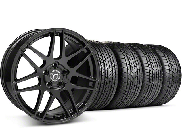 Staggered Forgestar F14 Piano Black Wheel & Sumitomo Tire Kit - 17x9/10.5 (99-04)