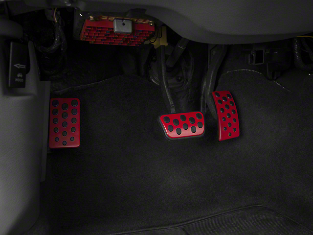 Modern Billet Bullitt Style Pedal Covers - Red (94-04 w/ Automatic Transmission)