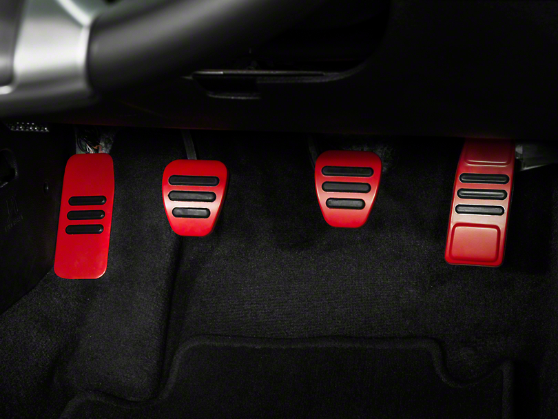 GT500 Style Pedal Covers - Red (05-14 GT, V6 w/ Manual Transmission)