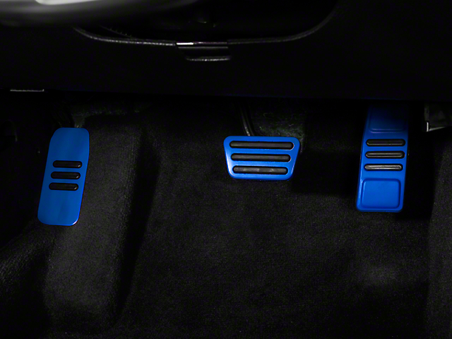 Modern Billet GT500 Style Pedal Covers - Blue (05-14 w/ Automatic Transmission)