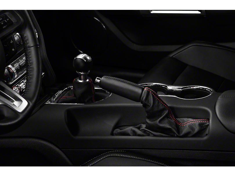 Alterum Premium Black Leather E-Brake Boot - Red Stitching (15-18 All)