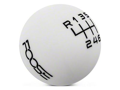 MMD by FOOSE Retro Style 6-Speed Shift Knob w/ FOOSE logo - White (15-17 GT, EcoBoost, V6)