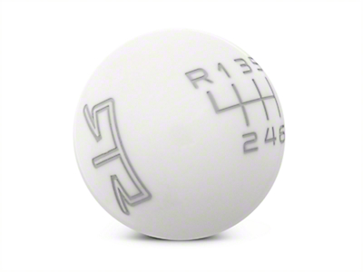 RTR White Shift Knob - Gray Engraving (15-17 GT, EcoBoost, V6)