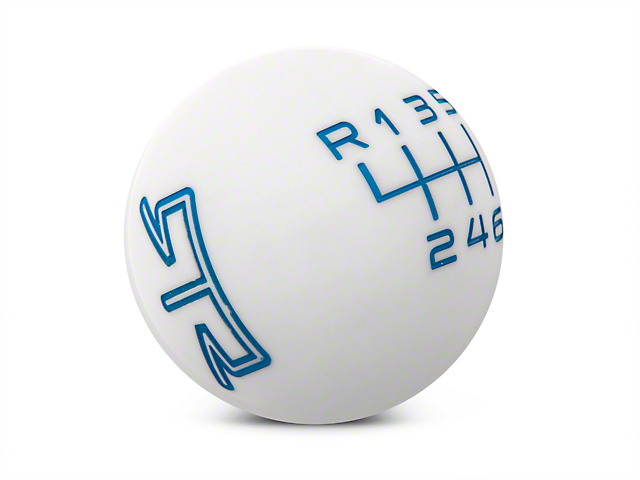 RTR White Shift Knob - Blue Engraving (15-18 GT, EcoBoost, V6)