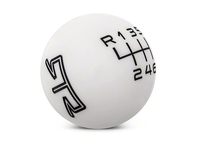 RTR 6-Speed Shift Knob; White/Black (15-20 GT, EcoBoost, V6)