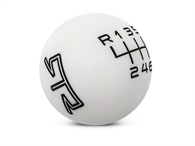 RTR White Shift Knob - Black Engraving (15-17 GT, EcoBoost, V6)