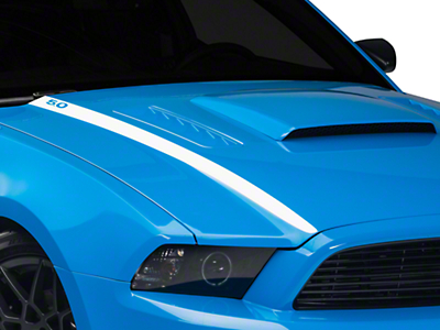 American Muscle Graphics White Hood Accent Decal - 5.0 Lettering (13-14 GT; 2013 BOSS 302)