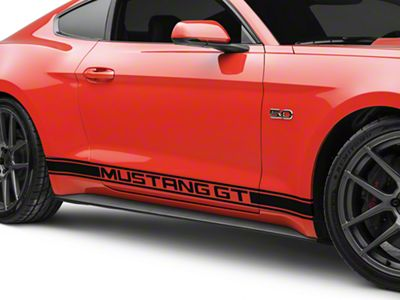 American Muscle Graphics Black Rocker Stripes w/ Mustang GT Lettering (15-19 All)