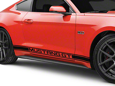 American Muscle Graphics Black Rocker Stripes w/ Mustang GT Lettering (15-17 All)