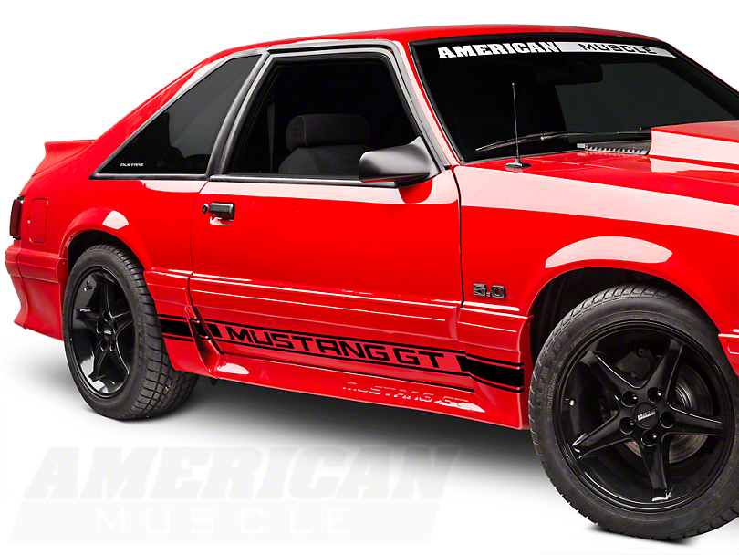 American Muscle Graphics Black Rocker Stripes w/ Mustang GT Lettering (79-93 All)