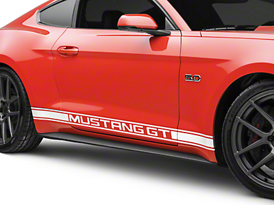 American Muscle Graphics White Rocker Stripes w/ Mustang GT Lettering (15-19 All)