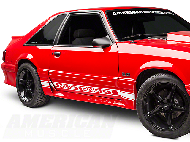 American Muscle Graphics White Rocker Stripes w/ Mustang GT Lettering (79-93 All)