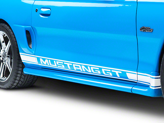 American Muscle Graphics White Rocker Stripes w/ Mustang GT Lettering (94-04 All)