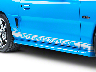 American Muscle Graphics Silver Rocker Stripes w/ Mustang GT Lettering (94-04 All)