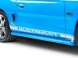 Rocker Stripes with Mustang GT Lettering; Silver (94-04 All)