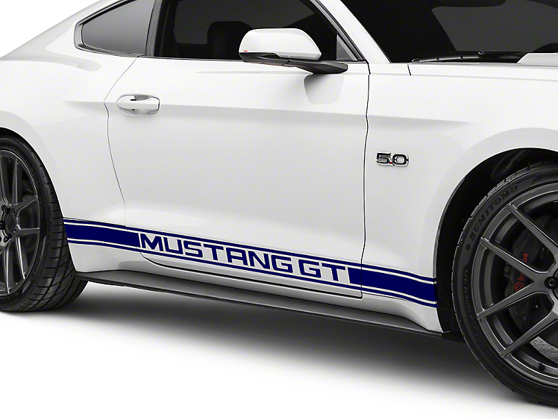 American Muscle Graphics Blue Rocker Stripes w/ Mustang GT Lettering (15-19 All)