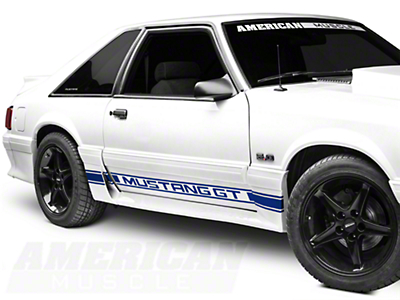 American Muscle Graphics Blue Rocker Stripes w/ Mustang GT Lettering (79-93 All)