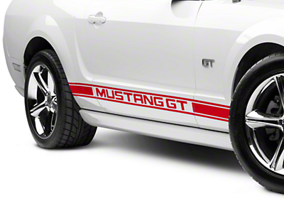 American Muscle Graphics Red Rocker Stripes w/ Mustang GT Lettering (05-14 All)