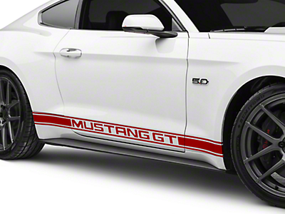 American Muscle Graphics Red Rocker Stripes w/ Mustang GT Lettering (15-18 All)