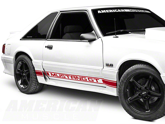 American Muscle Graphics Red Rocker Stripes w/ Mustang GT Lettering (79-93 All)