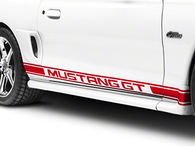 American Muscle Graphics Red Rocker Stripes w/ Mustang GT Lettering (94-04 All)