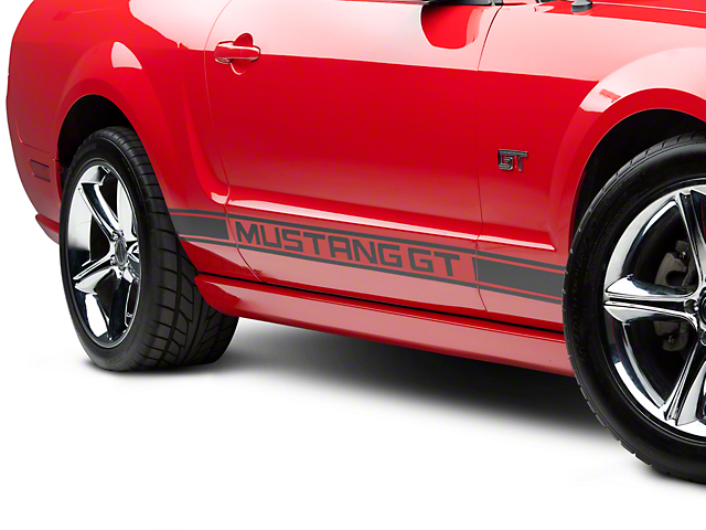 American Muscle Graphics Matte Black Rocker Stripes w/ Mustang GT Lettering (05-14 All)
