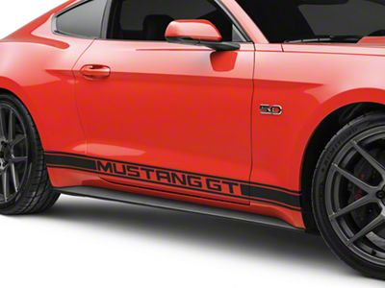 American Muscle Graphics Matte Black Rocker Stripes w/ Mustang GT Lettering (15-19 All)