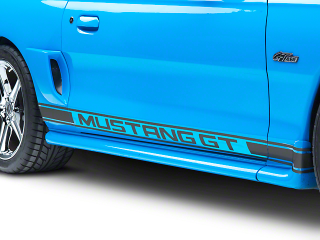 American Muscle Graphics Matte Black Rocker Stripes w/ Mustang GT Lettering (94-04 All)