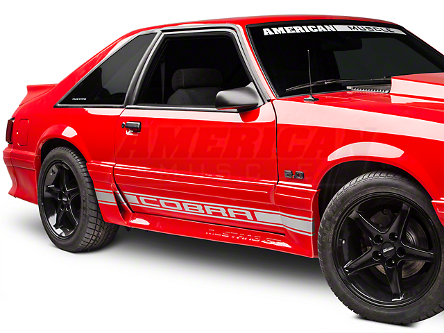 American Muscle Graphics Silver Rocker Stripes w/ Cobra Lettering (79-93 All)