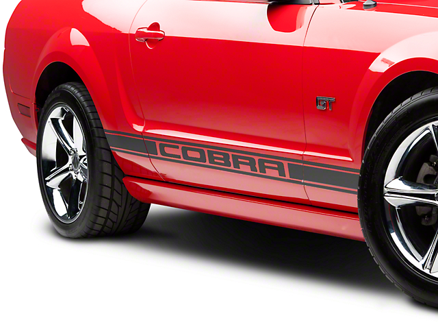 American Muscle Graphics Matte Black Rocker Stripes w/ Cobra Lettering (05-14 All)