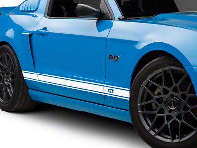 American Muscle Graphics White Rocker Stripes w/ GT Lettering (05-14 All)