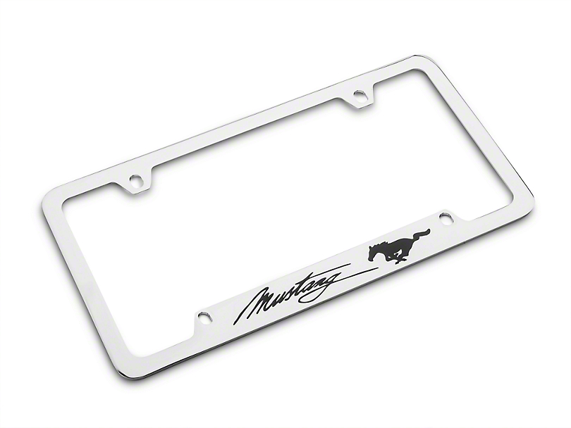 Ford License Plate Frame - Black Pony w/ Black Mustang Script (79-18 All)
