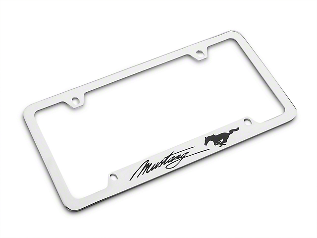 Ford Mustang License Plate Frame - Black Pony w/ Black Mustang ...